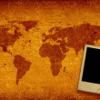 World map and photo frame — Stockfoto