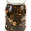 Glass jar full of dried mushrooms — Stock Photo #2218364