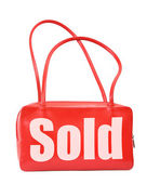 Handbag with sold sign — Stock Photo