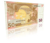 Fifty Euro banknote with reflection — Stok fotoğraf