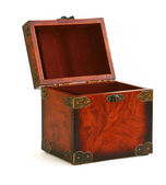 Open antique wooden trunk — Stock Photo