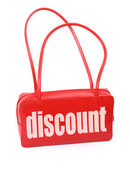 Handbag with discount sign — Stock Photo