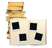 Lined exercise book and photo frames — Stock Photo