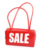 Handbag with red sale sign — Stock Photo