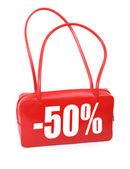 Handbag with sale sign — Stock Photo