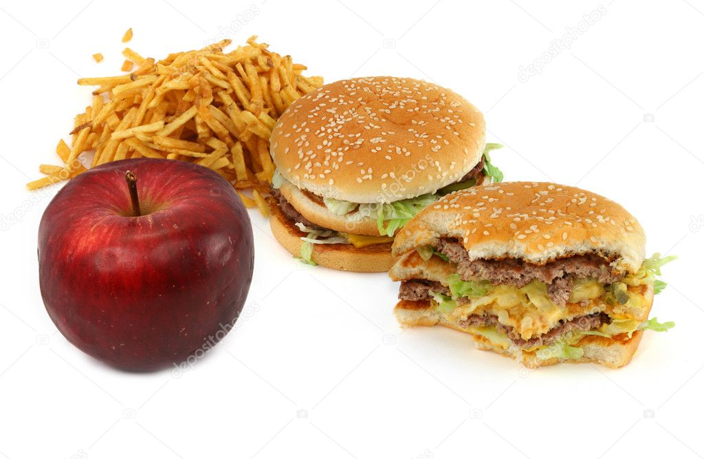 Junk food and apple against white background, natural shadow in front  Stock Photo #2211867