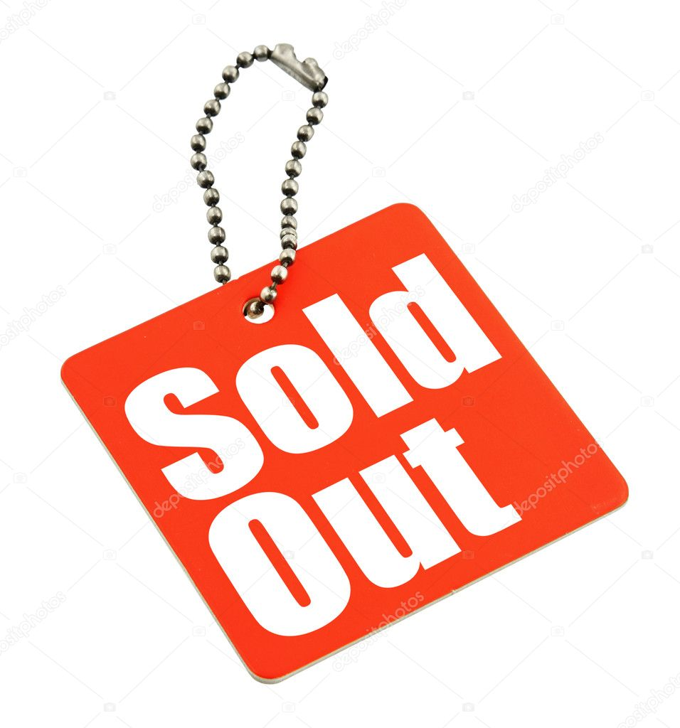 Tag with Sold out inscription isolated on pure white background, no copyright infringement — Stock Photo #2212876