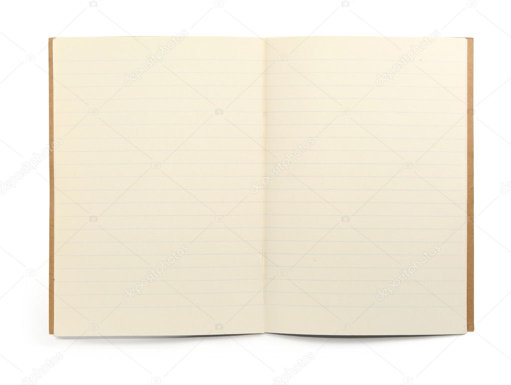 Blank lined exercise book on white, visible shadow in front — Stock Photo #2217210