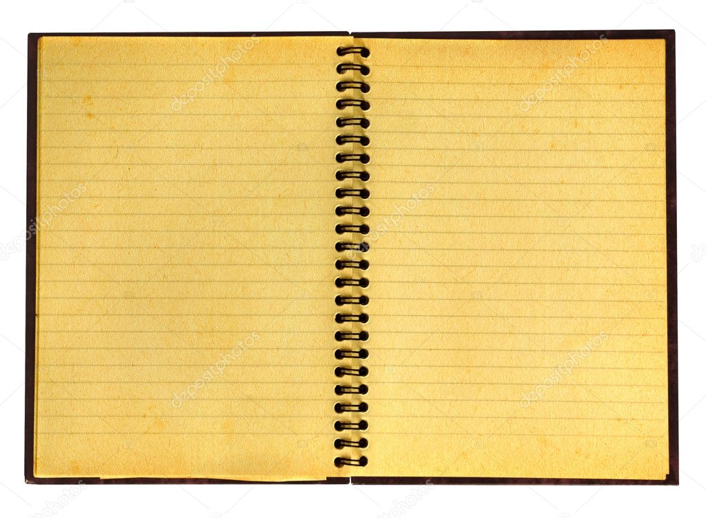 Close-up of yellowed open notebook isolated on pure white background, well visible paper texture — Stock Photo #2218144