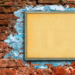 cartelera contra la pared de ladrillo — Foto de Stock