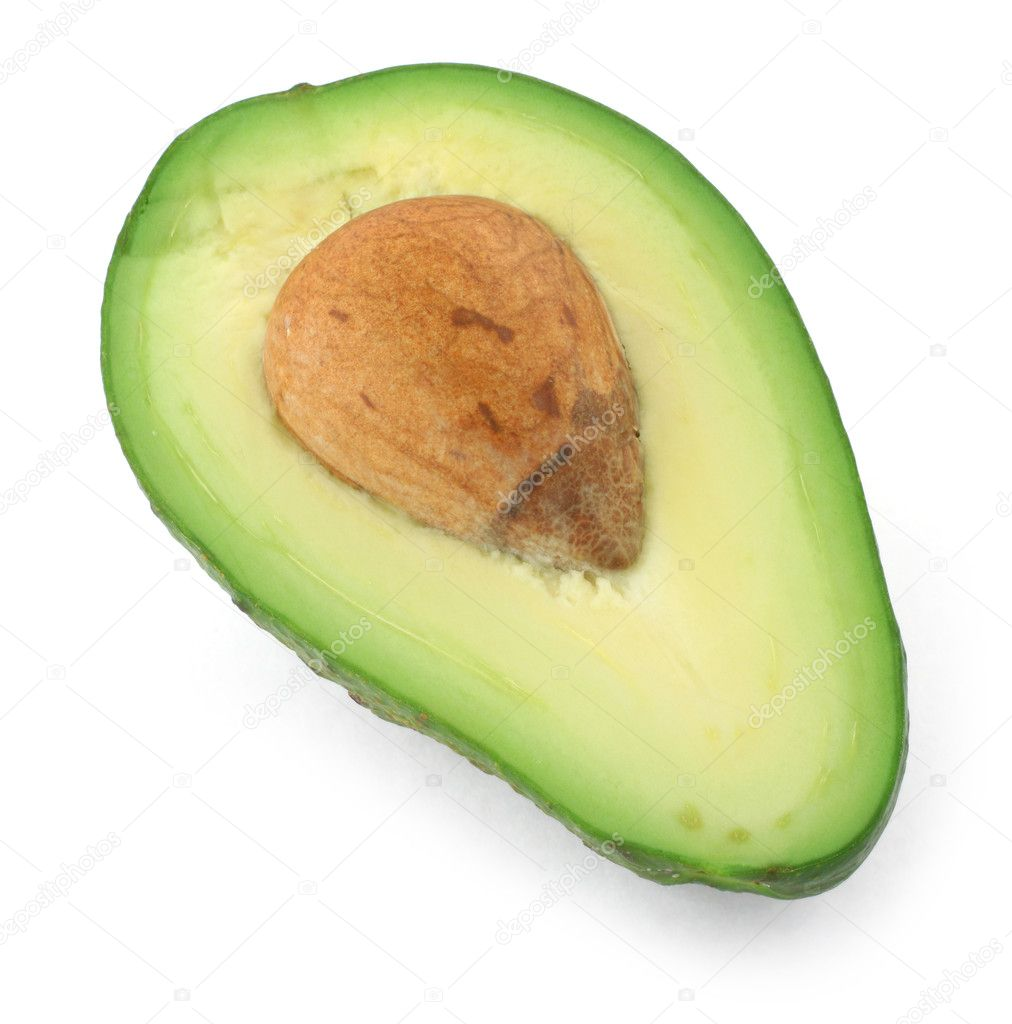Half of avocado fruit, gentle natural shadow in front — Stock Photo #2229707