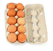 Ten eggs in a box — Stock Photo