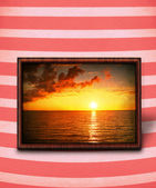 Sunset on stripy background — Stock Photo