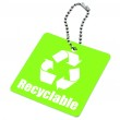 Green tag with recyclable symbol — Stock Photo