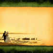 Postcard with just married couple — Stock Photo