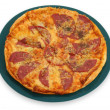 Pepperoni pizza on plate — Stock Photo
