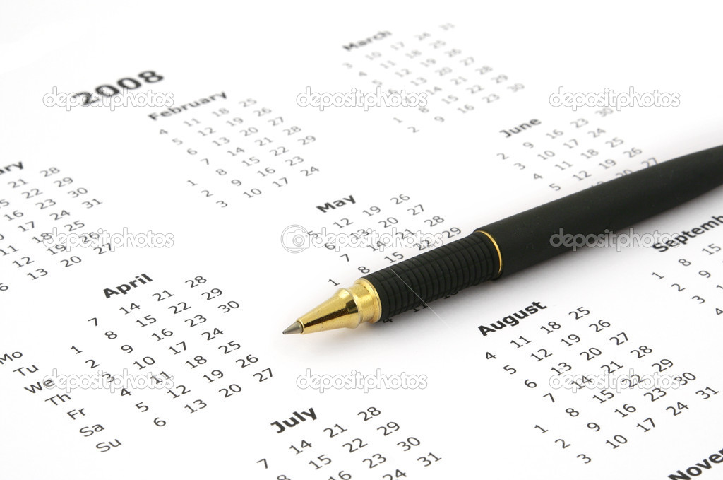 Close-up of simple white yearly calendar page and ballpoint pen — Stock Photo #2302008
