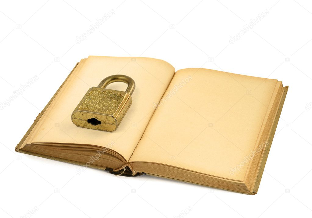 Open old book with padlock on white background  — Stock Photo #2320196