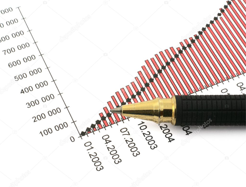 Pen tip and business chart on white  — Stock Photo #2320237