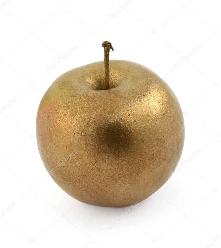 Close-up of gold apple isolated on white background — Stock Photo #2320956