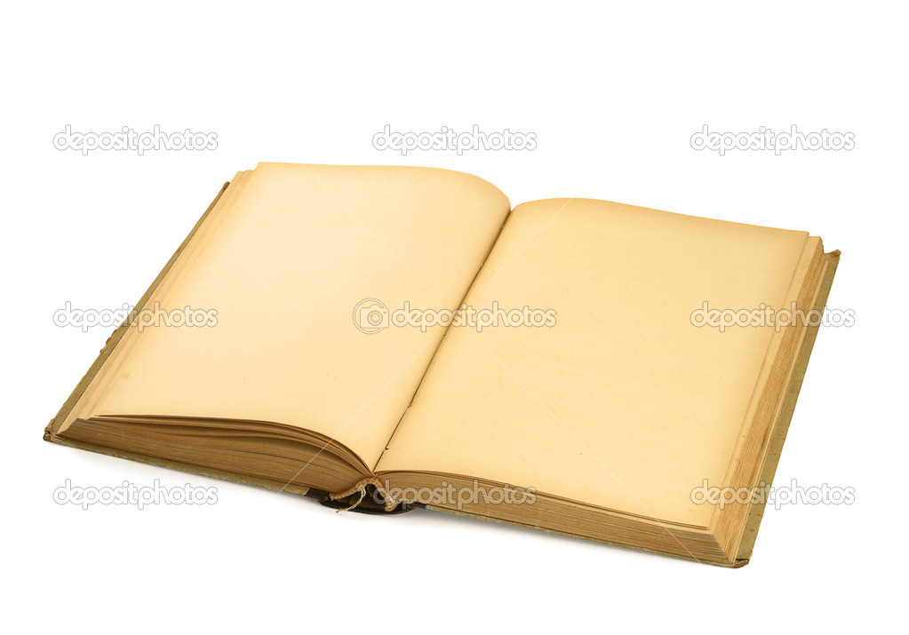 Open old blank book on white background  — Stock Photo #2321167