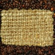Coffee frame with burlap copy space — Stock Photo