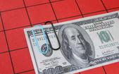 Hundred dollar note clipped — Stock Photo