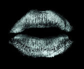 Lipstick kiss isolated on black — Stock Photo
