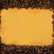 Coffee frame on yellowed paper — Stock Photo