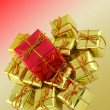 Gifts on multicolored background — Stock Photo