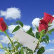 Heavenly roses with blank note — Stock Photo #2394576