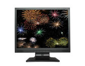 LCD screen with fireworks on white — Stock Photo