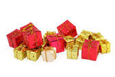 Various christmas gifts on white — Stok fotoğraf