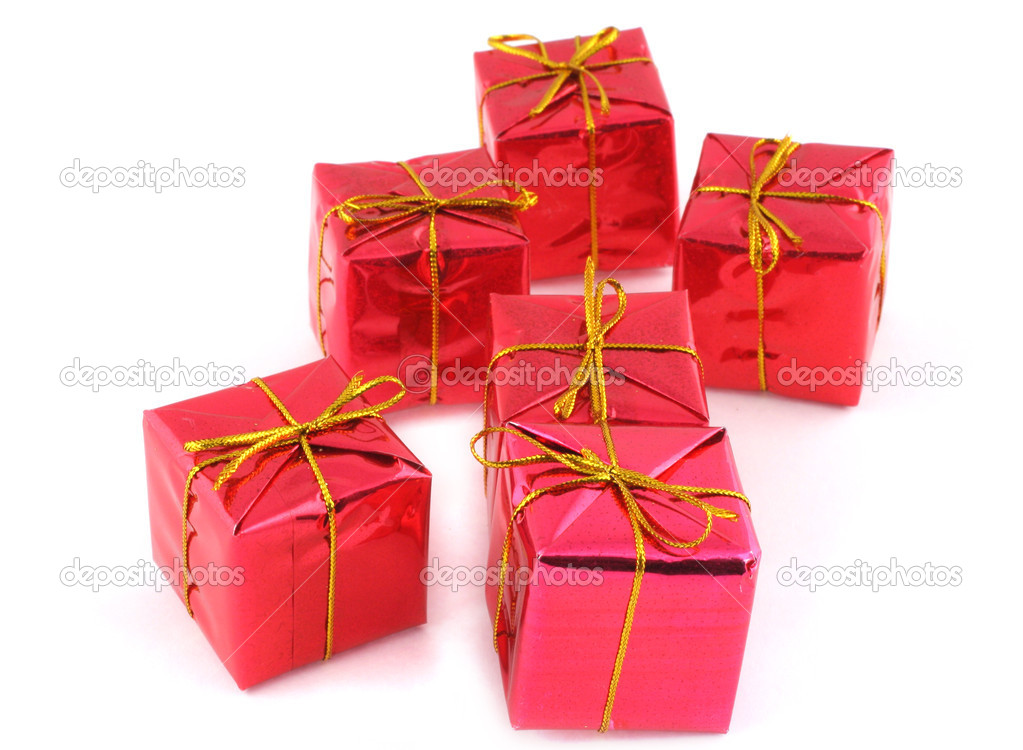 Group of christmas gifts on white — Stock Photo #2394579