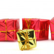 Christmas gifts on white — Stock Photo