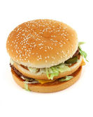 Appetizing hamburger on white — Stock Photo