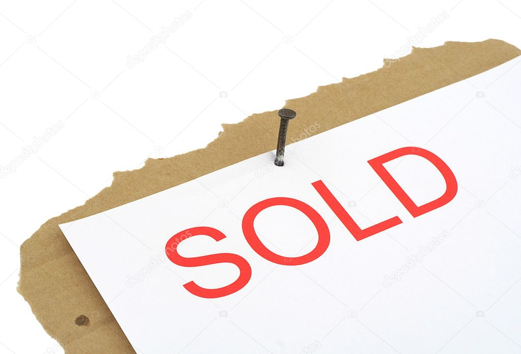 Sold property sign, background is pure white — Stock Photo #2676100