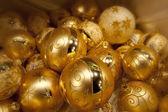 Yellow christmas balls — Stock Photo