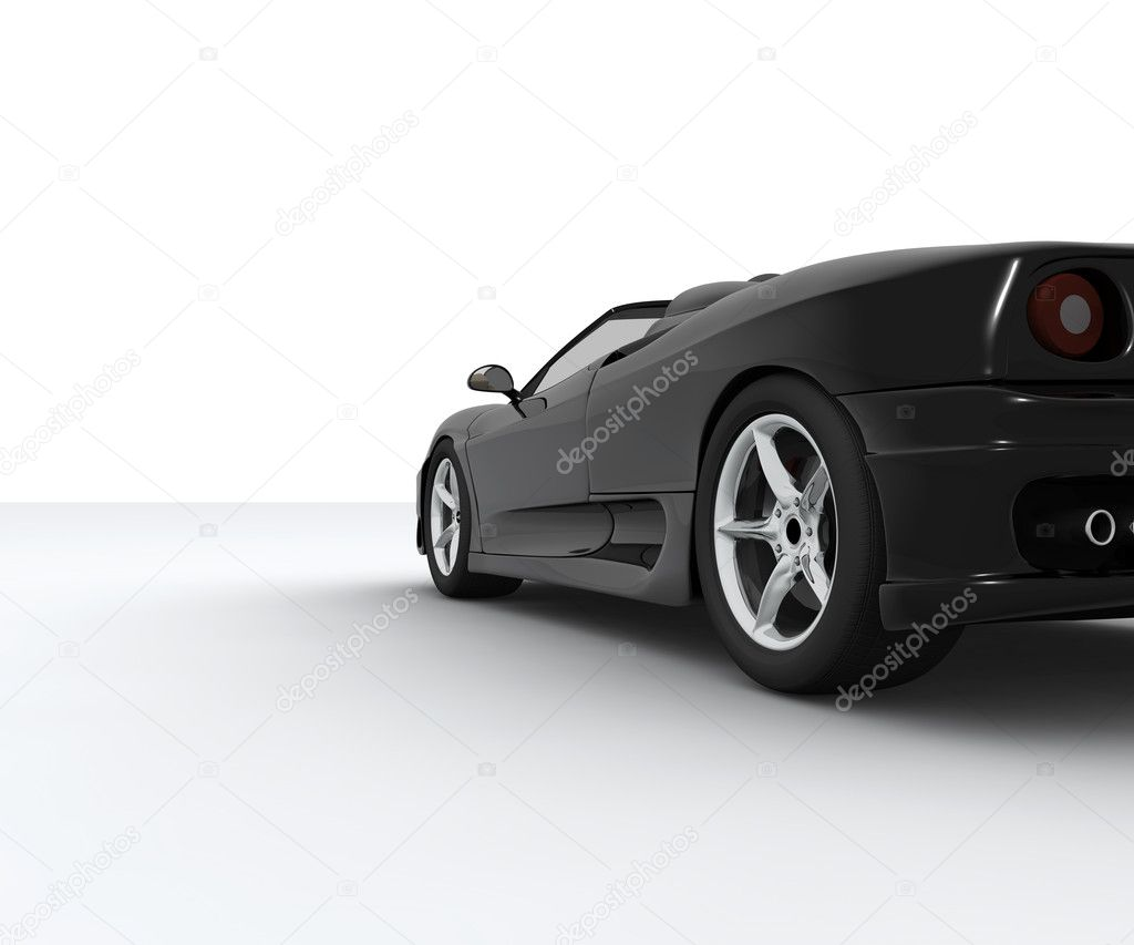 A black sport car seen by behind — Stock Photo #2163784