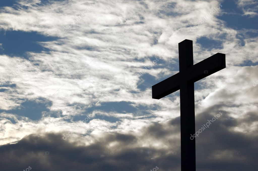 A cross in the cloud sky — Stok fotoğraf #2166174