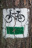 Bicycle path sign painted on the tree — Stock Photo