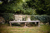 Old Bench with wall and ivy — Stock Photo