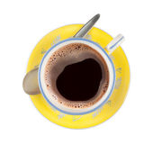 Black coffee in nicely patterned cup — Stock Photo