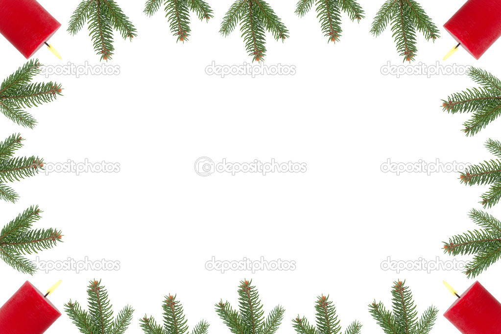 Ir branches, Christmas tree balls and wrapping tape in front of white background — Stock Photo #2214577