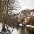 Tubingen seen from the river Neckar - Stock Photo