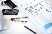 Desk of an architect — Stock Photo