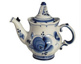 Brewing teapot from Gzhel — Stock Photo
