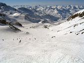 Skirun on the glacier — Stock Photo