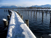 Boat harbour at the chiemsee — Stock Photo