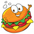 Stock Vector: Happy hamburger